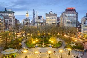 New York City, USA cityscape at Union Square in Manhattan.